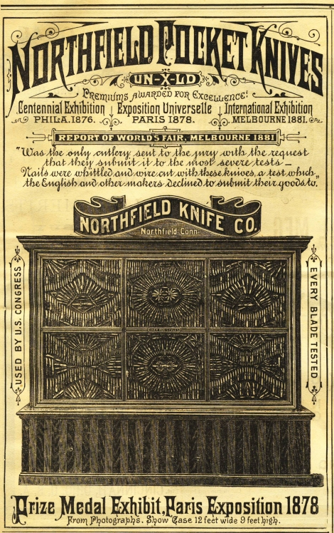 October 4, 1884 Northfield Knife Company advertisement